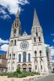 Chartres Cathedral. Cathedral of Our Lady of Chartres, a medieval Catholic cathedral in Chartres, France, about 80 kilometers southwest of Paris Stock Photos