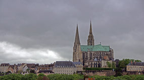 Chartres cathedral panorama. Chartres cathedral in old city in France Stock Photography