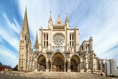 South side of Chartres Cathedral. Chartres, France - May 22, 2017: View South side of Cathedral of Our Lady of Chartres stock images