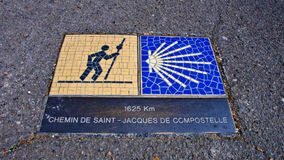 Chartres. France. Way of St. James sign. Stock Image