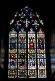 CHARTRES FRANCJA, LIPIEC, - 19, 2017: Witraży okno Chartres katedra fotografia stock