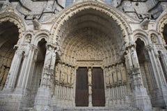 Chartres Katedra boczny wejście, Francja Fotografia Royalty Free