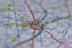Chartres sur la carte Photos stock