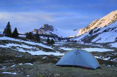 Chartreuse campsite. Tent at a campsite in the Chartreuse mountains, France, during a spring sunrise stock photography