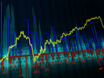 Charts. Dark background with the image of colorful graphics Royalty Free Stock Images