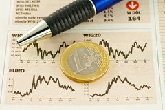 Charts. Chart listing the euro and dolar Royalty Free Stock Photos