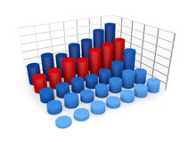 Charts. Some graphical interpretation of values increase; charts are cylinder shaped Stock Illustration
