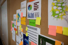 Charts and adhesive notes on board Stock Photography