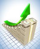 charts att lyfta för dollar Arkivbilder