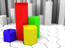 Charts background. Abstract 3d illustration background with colorful charts Royalty Free Stock Photo