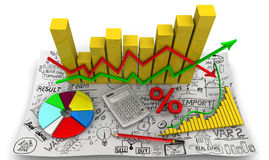 Charts. Business still life. Golden charts with arrows of change data indicators, electronic calculator, a red pencil, symbol of percent, round diagram on the Stock Images