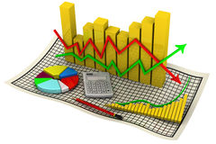 Charts. Business still life. Golden chart with arrows of change data indicators, electronic calculator, a red pencil, round diagram on the sheet in a cage Royalty Free Stock Photography