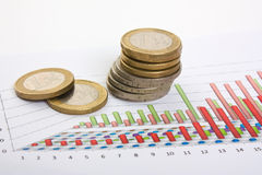 Charts and coins Royalty Free Stock Images