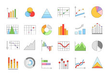 Charts colorful icons set Royalty Free Stock Images