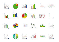Charts colorful vector icons set Royalty Free Stock Photography