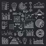 Charts, data graphs and other infographics elements isolate on black chalkboard. Vector pictures set royalty free illustration