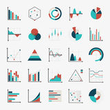 Charts diagrams and graphs flat icons Stock Images