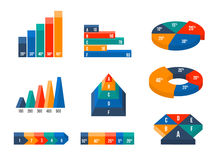 Charts, diagrams and graphs in modern isometric 3d. Flat style. Infographic presentation, design data finance, vector illustration Royalty Free Stock Photos