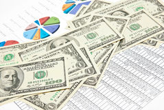 Charts, diagrams and money Royalty Free Stock Photo