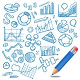 Charts And Diagrams Sketch. Charts and diagrams business and financial sketch with pencil vector illustration Royalty Free Stock Photography
