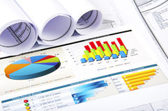 Charts, documents, blueprint stock image