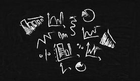 Charts drawn in chalk Stock Photography