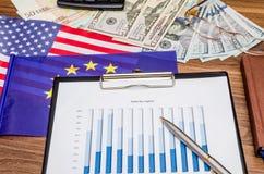 Charts of euro and US dollars Stock Photo