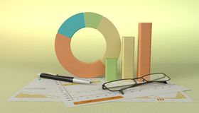 Charts Financial Analysis. With pen and glasses Royalty Free Stock Photos