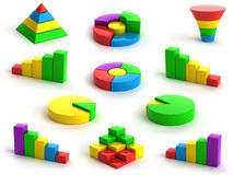 Charts and graphs. 3d charts and graphs on white background Stock Images
