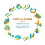 Charts and Graphs Banner Card Circle 3d Isometric View. Vector. Charts and Graphs Banner Card Circle 3d Isometric View for Design Documents, Reports Stock Photos