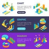 Charts and Graphs Banner Horizontal Set 3d Isometric View. Vector. Charts and Graphs Banner Horizontal Set 3d Isometric View for Design Documents, Reports Royalty Free Stock Photos