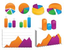 Charts and Graphs Collection. Arrangement of vibrantly colored charts and graphs, both in 2D and 3D styles;  files contains unexpanded blends Royalty Free Stock Photography