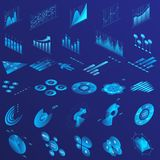 Charts, graphs, diagram isometric infographics flat neon illustrations set royalty free stock photos