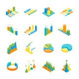 Charts and Graphs Icon Set 3d Isometric View. Vector. Charts and Graphs Icon Set 3d Isometric View for Design Documents, Reports, Presentations or Promotion Royalty Free Stock Photo