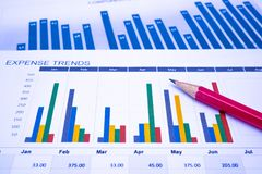 Charts and Graphs paper. Financial, Accounting, Statistics, Analytic research data and Business company meeting concept. Charts and Graphs paper. Financial Stock Photography