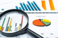 Charts and Graphs paper. Financial, Accounting, Statistics, Analytic research data and Business company meeting concept. Charts and Graphs paper. Financial Royalty Free Stock Image