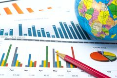 Charts and Graphs paper. Financial, Accounting, Statistics, Analytic research data and Business company meeting concept. Charts and Graphs paper. Financial Stock Photo