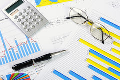 Charts and graphs of sales. A symbol of successful corporate business Royalty Free Stock Images