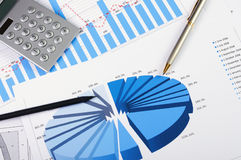 Charts and graphs of sales. A symbol of successful corporate business Stock Photo
