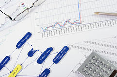 Charts and graphs of sales. Of securities - workplace successful business man Stock Images