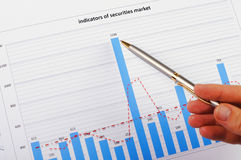Charts and graphs of sales. Of securities - workplace successful business man Stock Photos