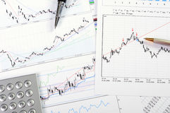 Charts and graphs of sales. A symbol of successful corporate business Royalty Free Stock Image