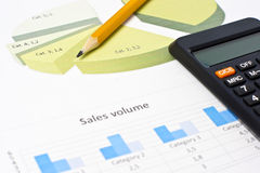 Charts and graphs of sales. Business chart showing financial success at the stock market Stock Photos