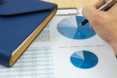Charts and graphs of sales. On table Stock Images