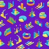 Charts and Graphs Seamless Pattern Background 3d Isometric View. Vector. Charts and Graphs Seamless Pattern Background 3d Isometric View for Design Documents Royalty Free Stock Images