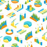 Charts and Graphs Seamless Pattern Background 3d Isometric View. Vector. Charts and Graphs Seamless Pattern Background on a White 3d Isometric View for Design Stock Photo