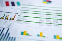Charts Graphs spreadsheet paper. Financial development, Banking Account, Statistics, Investment Analytic research data. stock photo