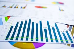 Charts Graphs spreadsheet paper. Financial development, Banking Account, Statistics, Investment Analytic research data economy, St. Ock exchange trading royalty free stock photo