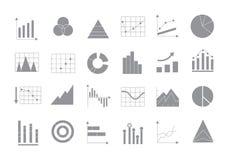 Charts gray vector icons set Stock Photo