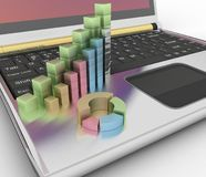 Charts of growth on the keyboard of computer. 3d render illustration Royalty Free Stock Photos